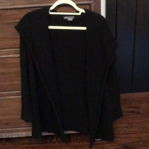 Vince black long sleeve thick cardigan with hood